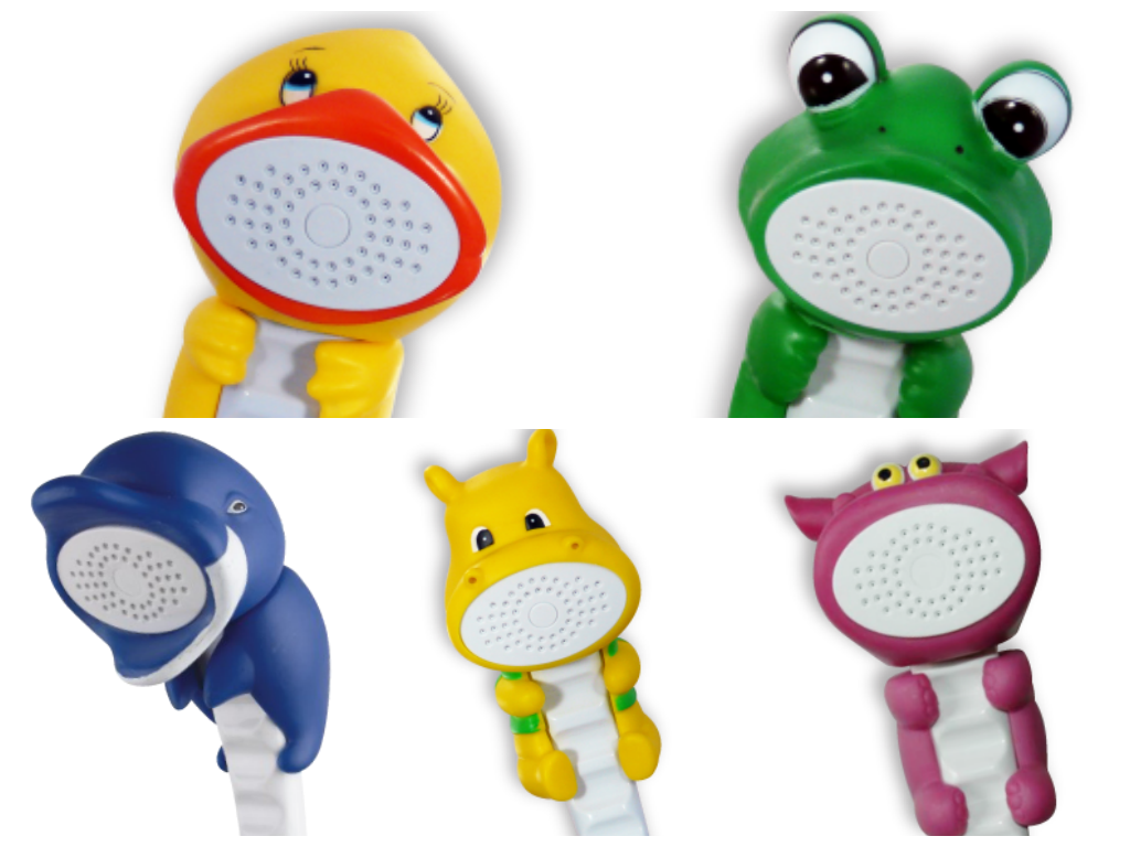 Rubber duckie and friends showerheads for kids my okc mommy for Childrens shower head