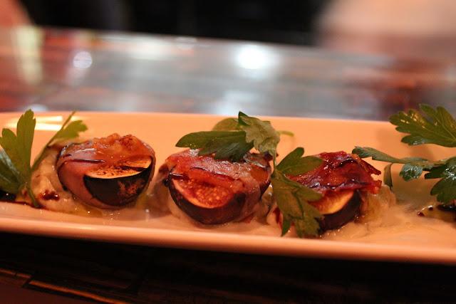 Prosciutto-wrapped figs at Aragosta Bar + Bistro, Boston, Mass.