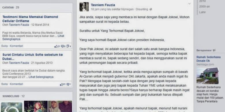 Surat Untuk Calon Presiden Jokowi