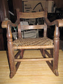 Antique Mid 1800s Oak Woven Splint Seat Handmade Child's Rocking Chair