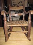 Antique Mid 1800s Oak Woven Splint Seat Handmade Child's Rocking Chair