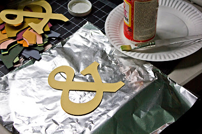 Tutorial for cardstock ampersand, beginning to layer with Mod Podge