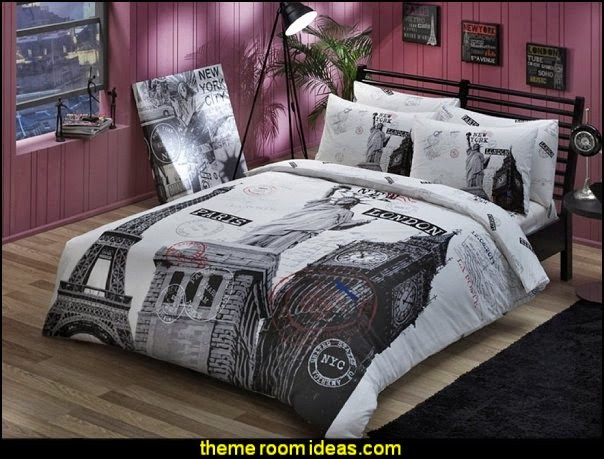 Paris Eiffel Tower London New York Theme Themed Full Double Queen Size Quilt Duvet Cover Set