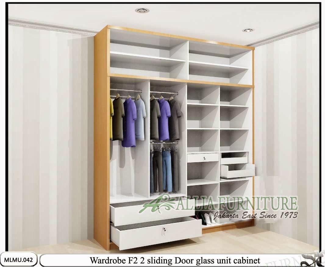 Dalam lemari baju minimalis sliding unit F2