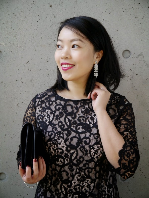Sparkly jewels and a fuchsia lip to dress up an LBD