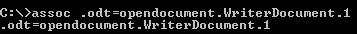 Uso del comando assoc desde la consola MSDOS