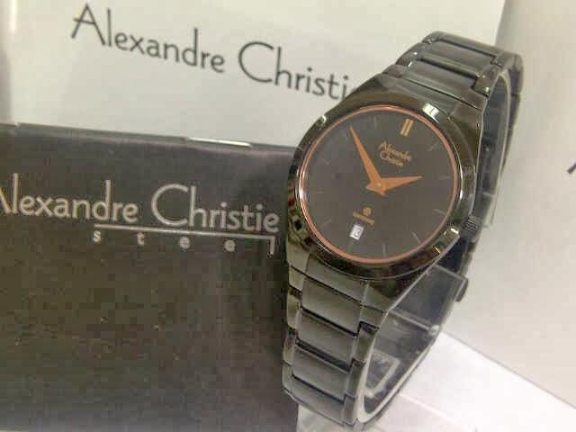 Jual Jam Alexander Christie 8226 Black Rosegold Link Ori