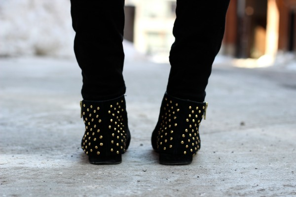 gold studded booties