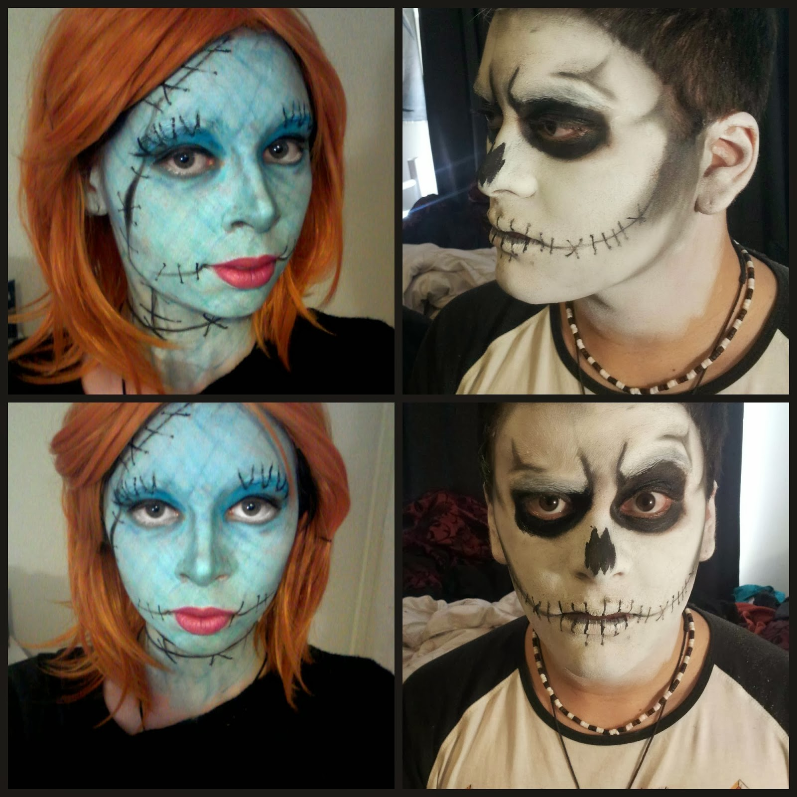 Nightmare Before Christmas: Jack and Sally Makeup for Halloween