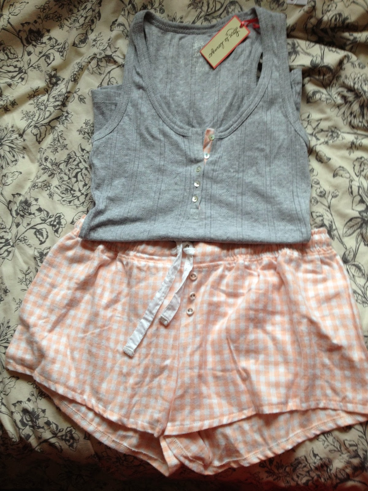 Primark Pink and Grey Flannel Short Pyjamas