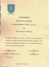 Nagroda Powiatu Kieleckiego w dziedzinie kultury za 2010 r.
