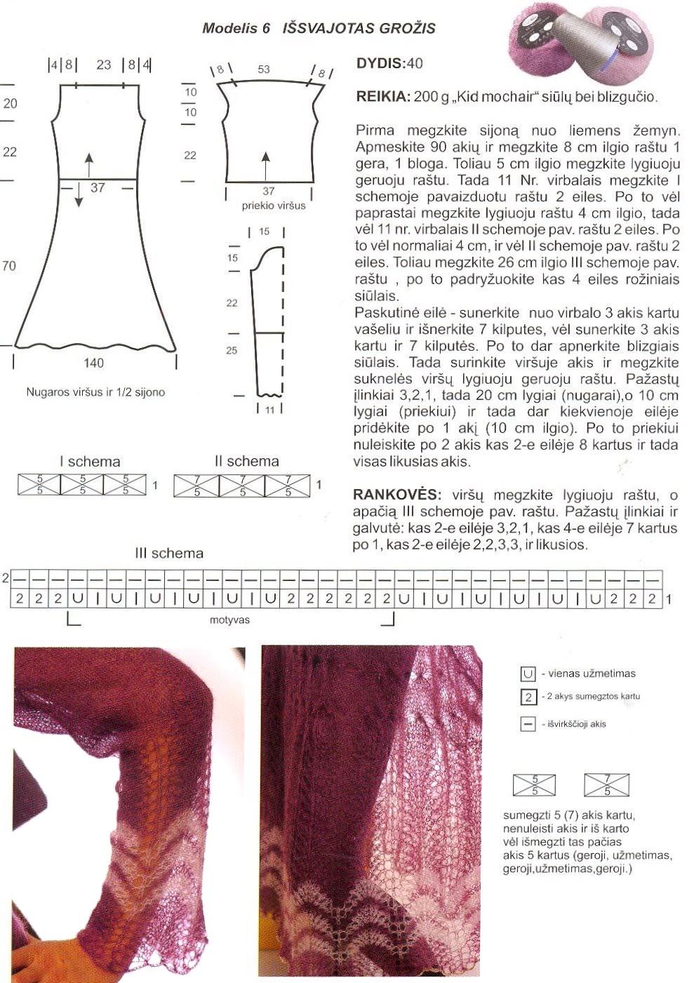 Платье спицами из тонкого мохера схема