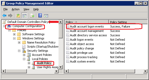 enable account logon audit events