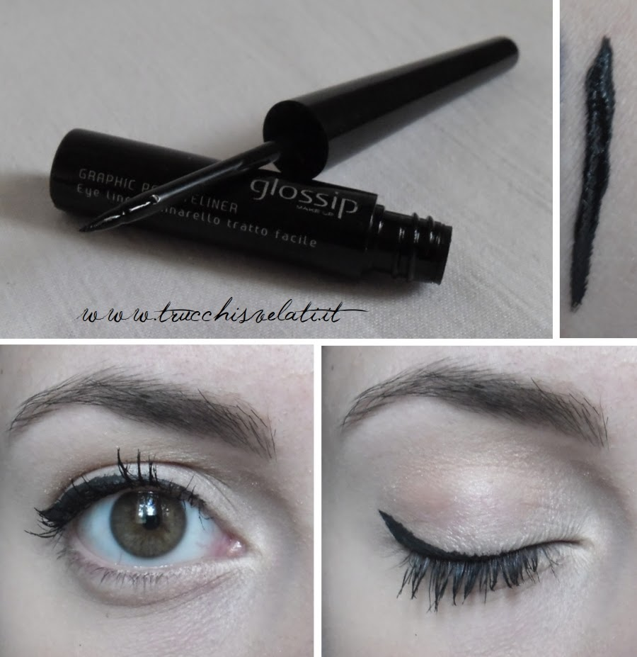 glossip make up graphic pen eyeliner 01 endless black swatch applicazione