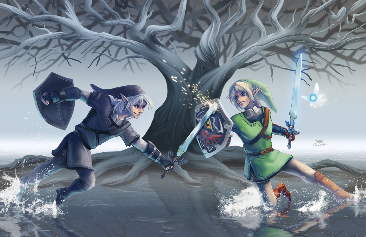 Legend Of Zelda Dark Link Vs Link Right Click Save Image...