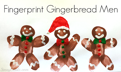fingerprint gingerbread men craft for kids