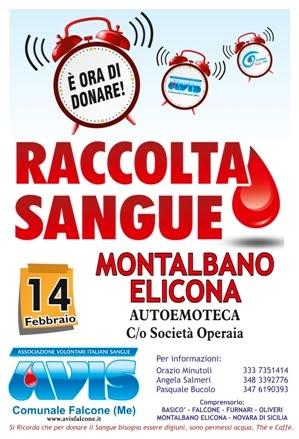 RACCOLTA SANGUE A MONTALBANO IL 14 FEBBRAIO CON L'AUTOEMOTECA C/O SOCIETA' OPERAIA