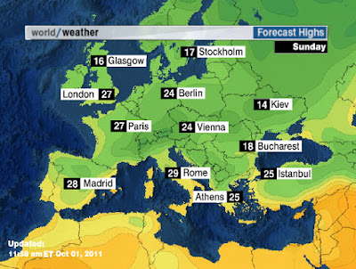 Temperature's highs | Weather map of Europe- Travel europe