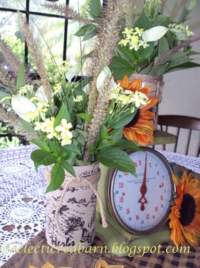Eclectic Red Barn: Burlap wrapped vase with messenda and vintage scale