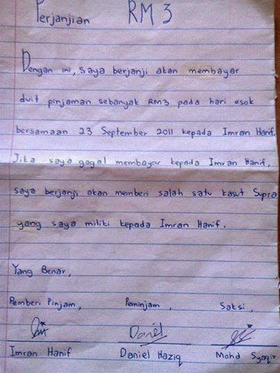 Surat Perjanjian Pinjaman RM3