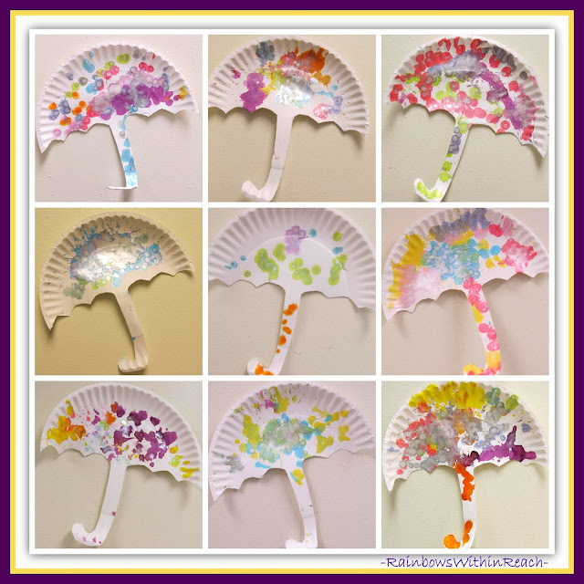 Umbrellas made on paper plates in Preschool (Weather RoundUP at RainbowsWIthinReach)