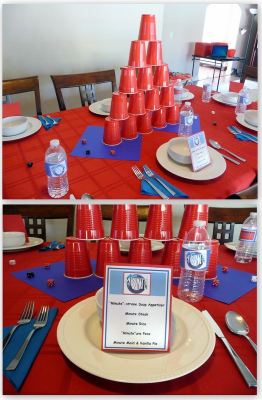 i set my table with a red tablecloth white plates and royal blue napkins i put two 12x12 pieces of card stock in the center to add color