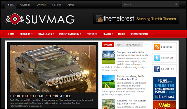 SUV Auto Theme Blogger Template