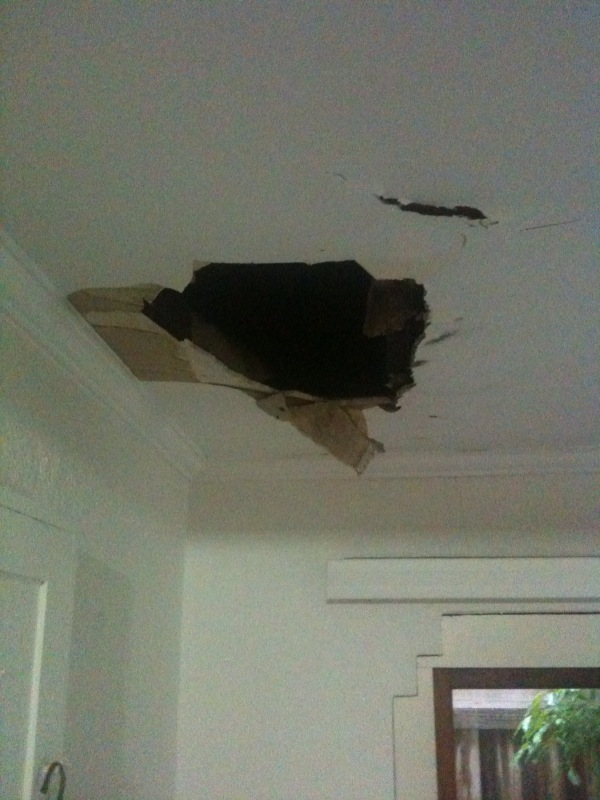 Last Night, Some Of That Wet Found Its Way Into Our Ceiling. Cue Flooded  Front Hall.