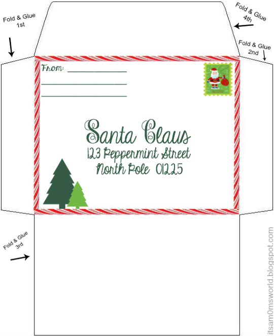 Agile image with printable santa envelopes