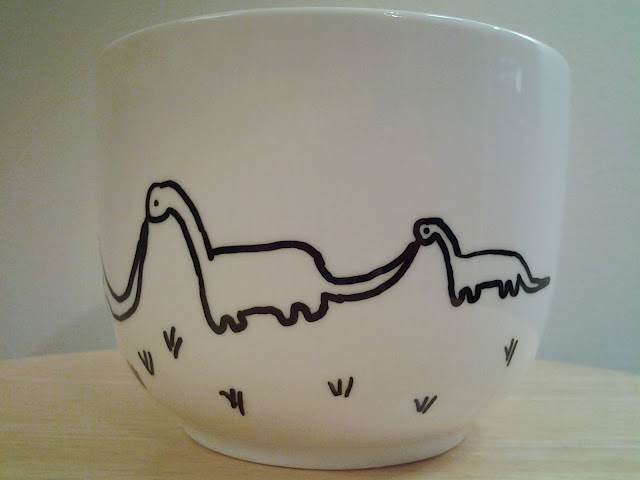 dinosaur sharpie mug