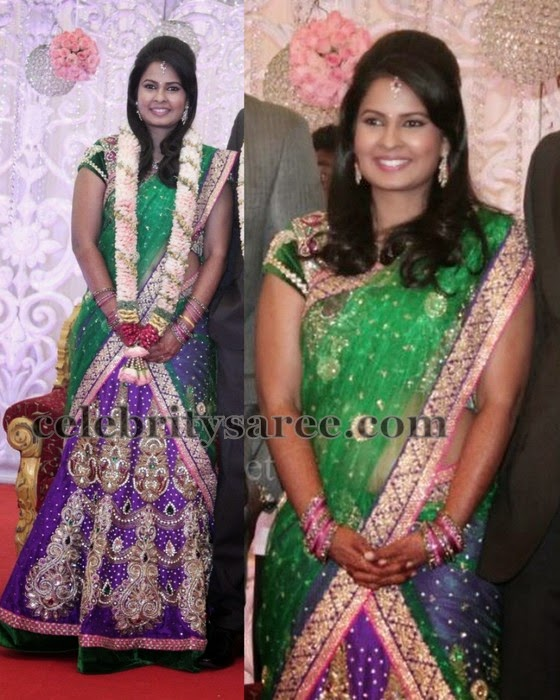 Bride in Purple Half Saree