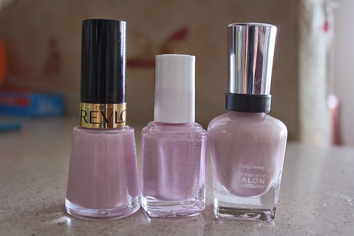 dusty lavender mauve nail polish Sally Hansen Gray-t Escape Essie Neo Whimsical Revlon Lilac Pastelle
