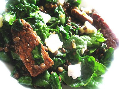 lentil salad with tempeh