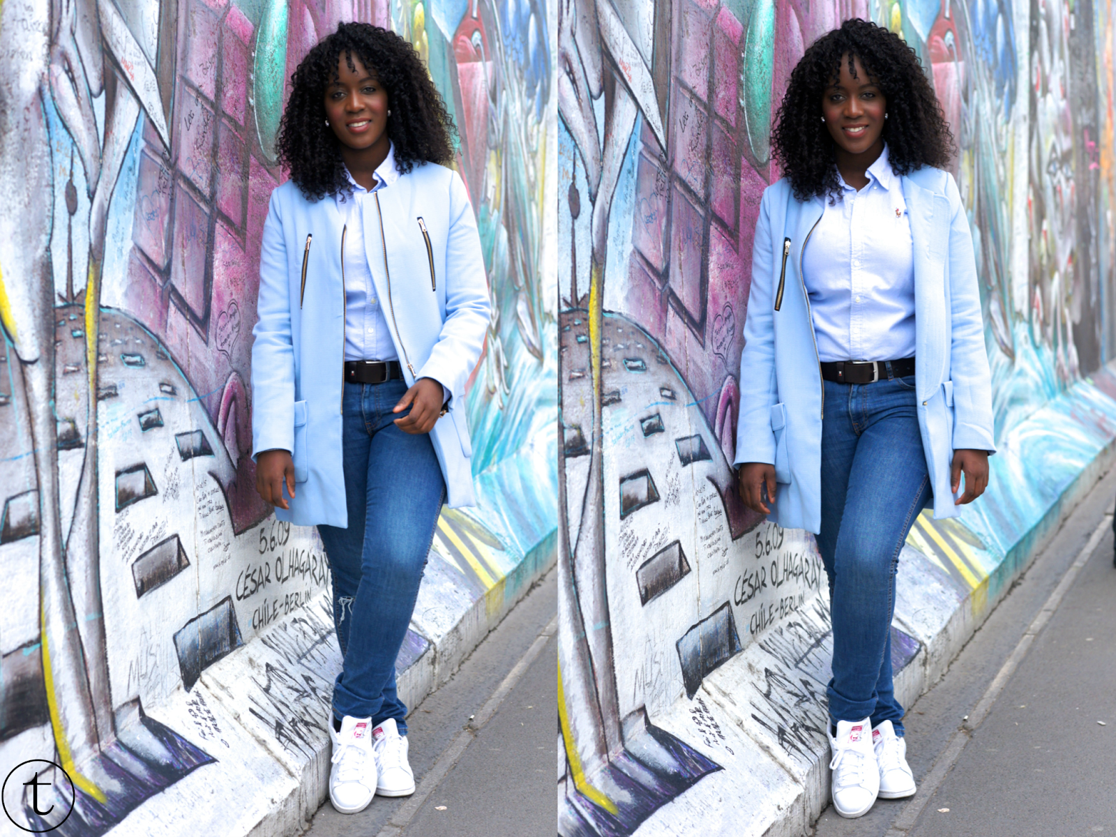 outfit post wearing sheinside blue coat and ripped zara jeans in berlin germany berlin wall