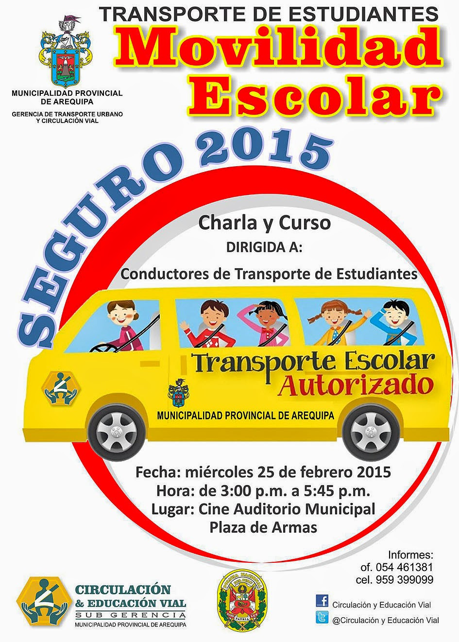 """CHARLA Y CURSO """"TRANSPORTE DE ESTUDIANTES SEGURO 2015"""""""