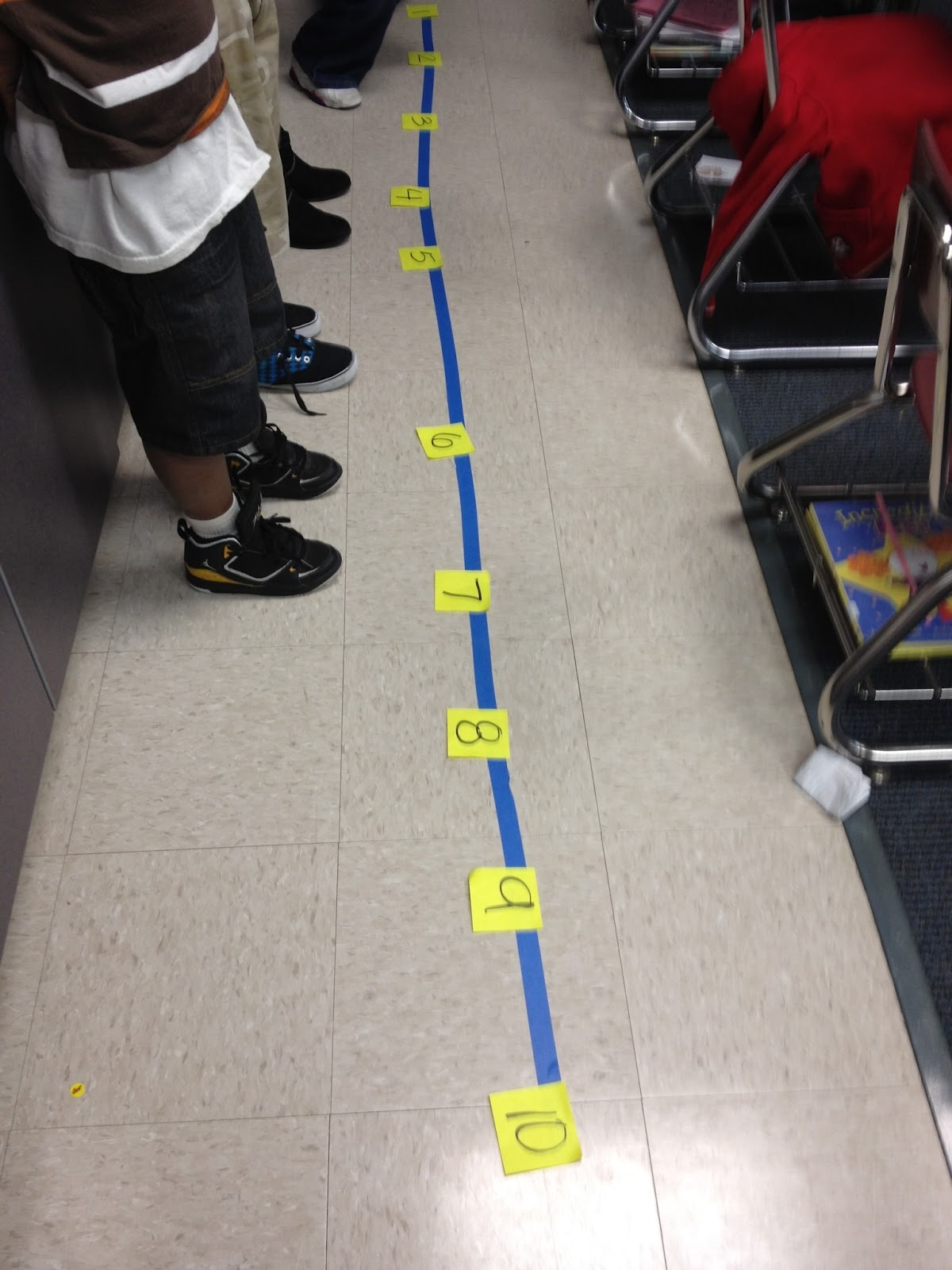 The bubbly blonde walk the line with numbers for Floor number line