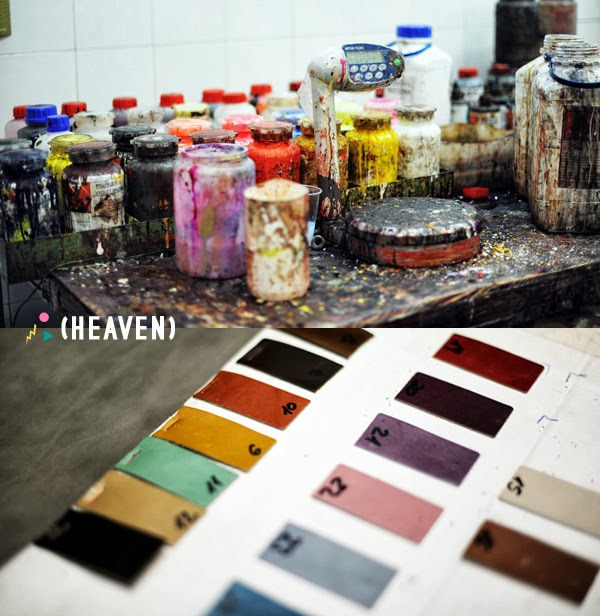 Miista shoes production - leather coloring
