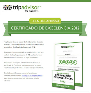 Hotel certificate of Excellence in Patagonia