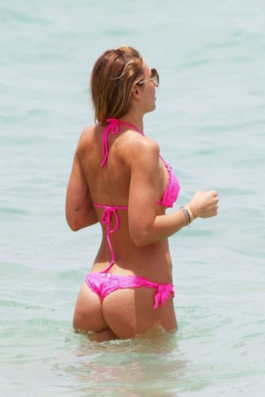 ILARY BLASI wearing a Pink thong Bikini on  Miami beach