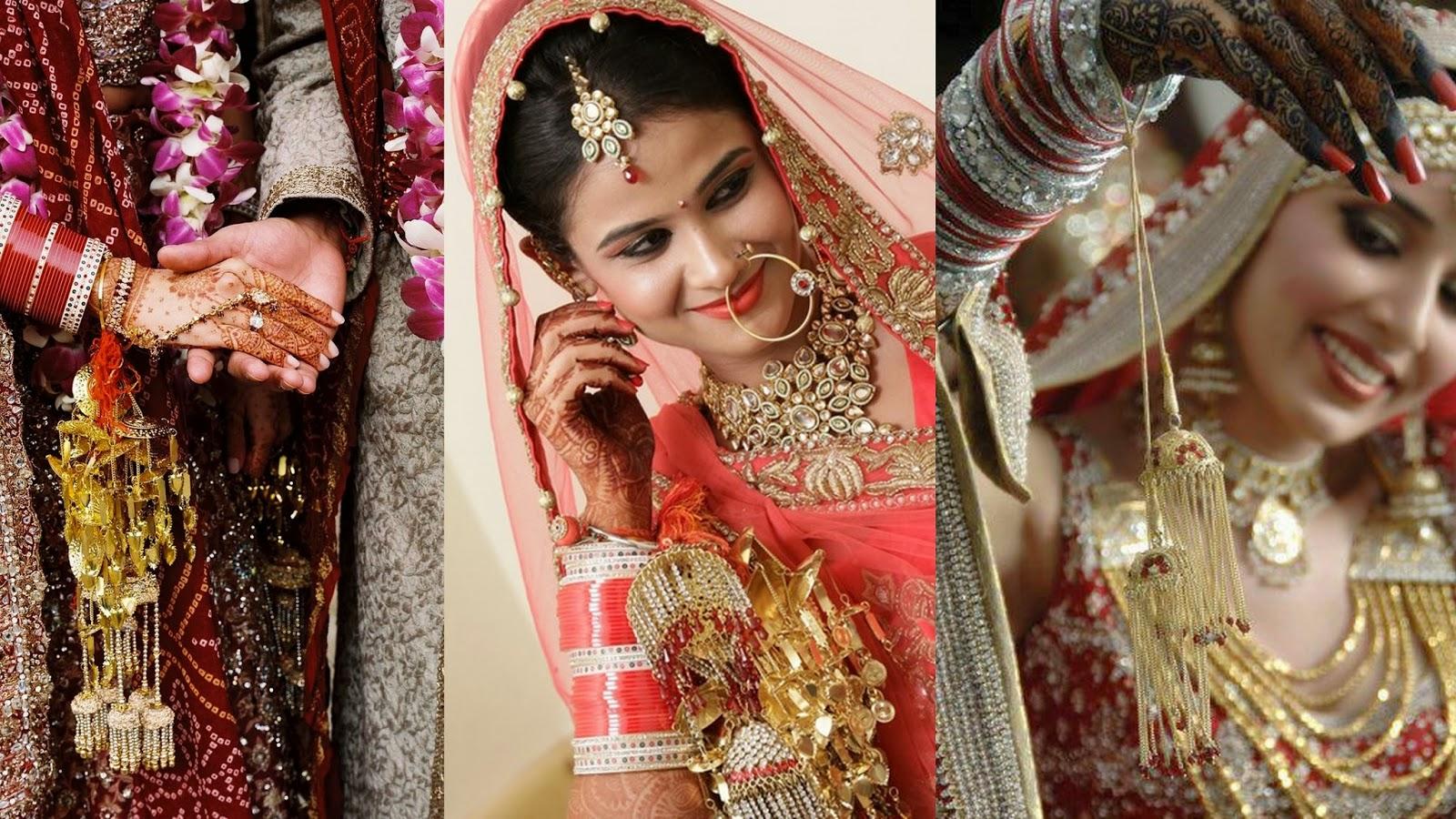 Stunning Kaleere or Hanging String in bride's hands