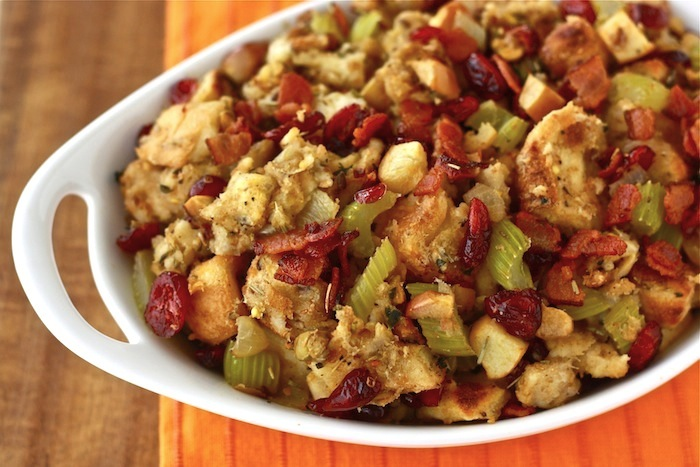 Homemade Cranberry Pistachio Stuffing recipe by SeasonWithSpice.com