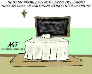 istruzione, Giannini, scuola, cattedre, satira, vignetta