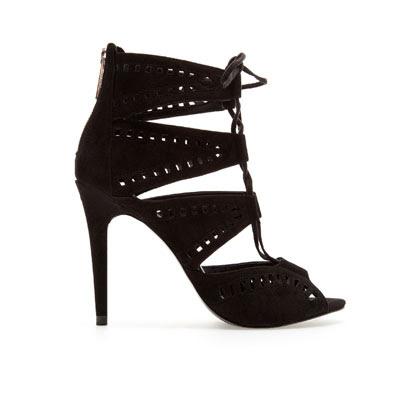 Zara lace-up sandals 89.95 webshop shop online black pumps leather