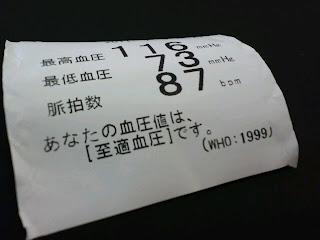 写真:血圧測定器からプリントアウトされた記録紙
