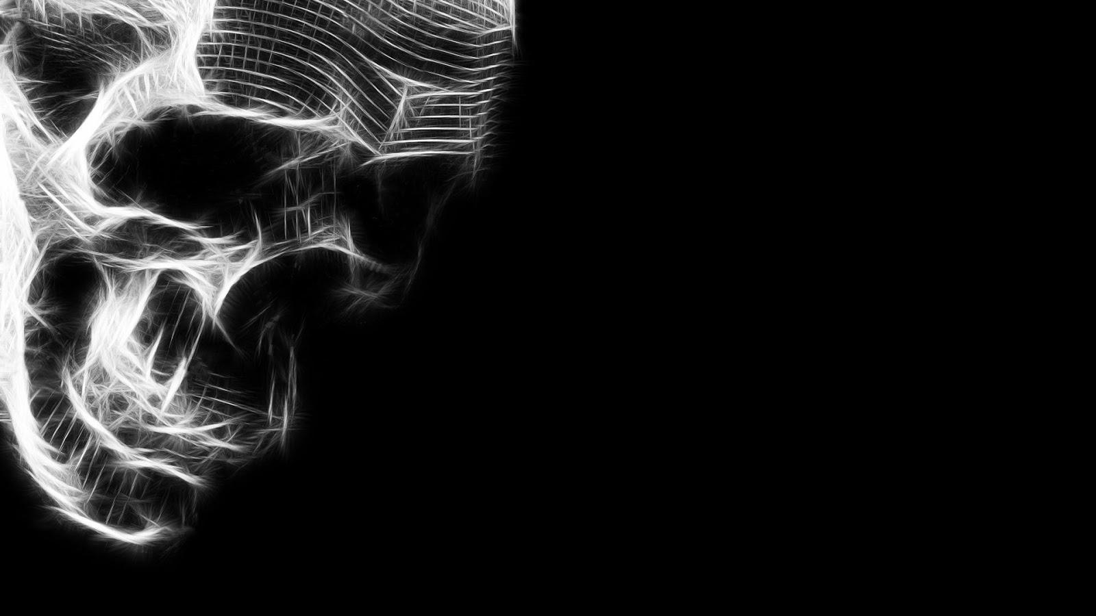 Digital Art Skull HD 1080p Wallpaper Black and White