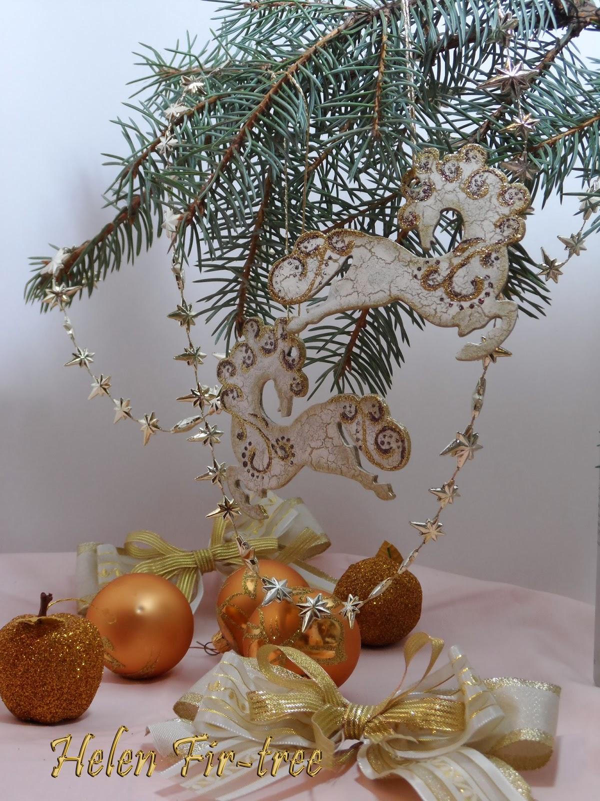 Helen Fir-tree декупаж ёлочное украшение лошадка decoupage Cristmas decorations horse