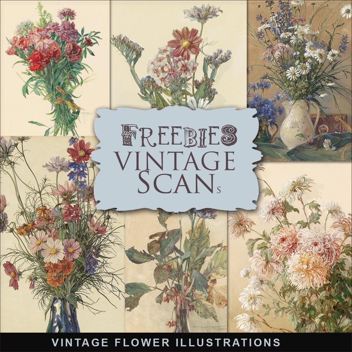 New Freebies Kit Of Vintage Flower Illustrations:Far Far