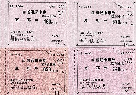 JR東海 常備軟券乗車券4 恵那駅 金額式