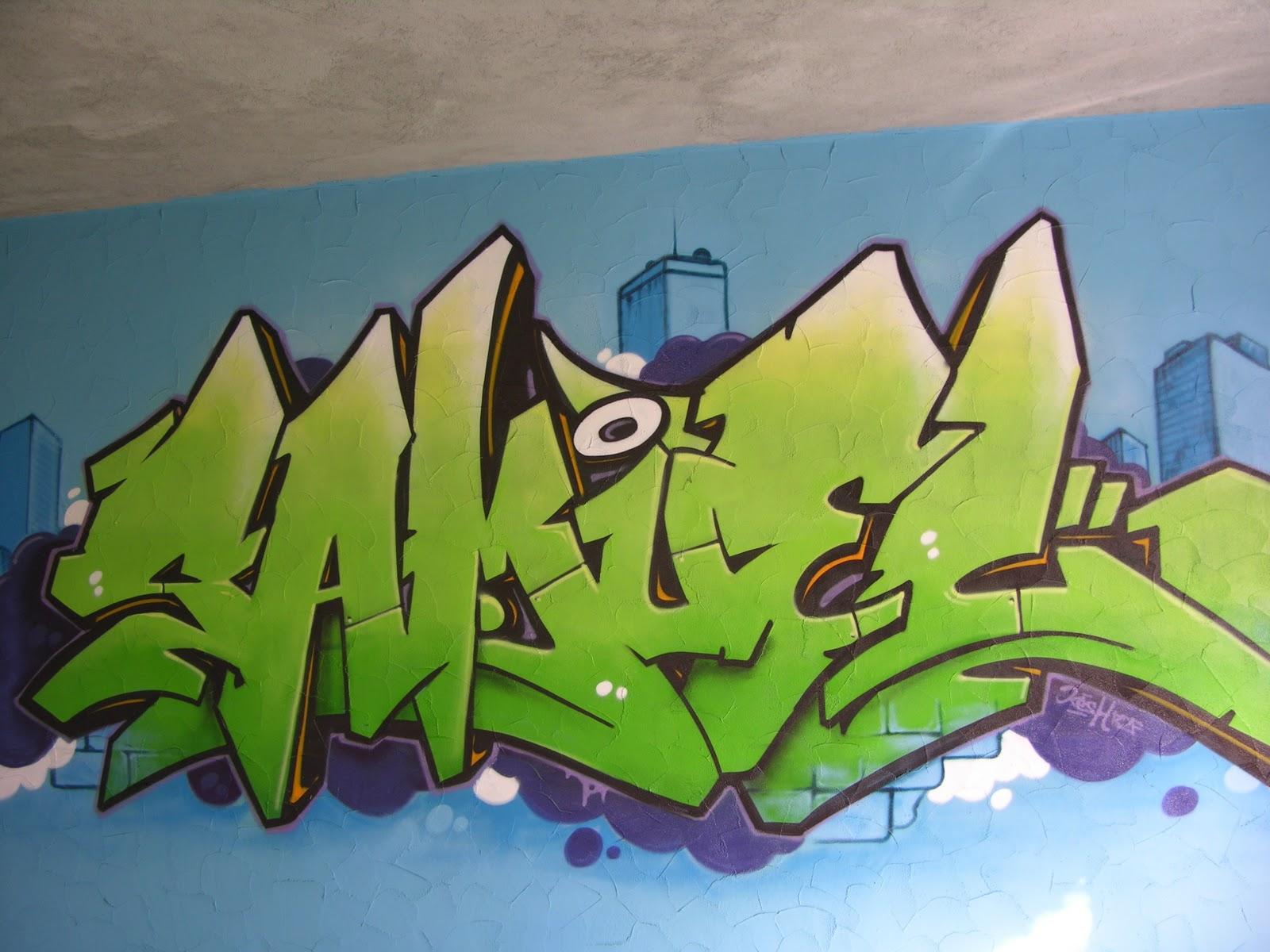 graffiti pour une chambre d 39 enfant avec un personnage hip hop. Black Bedroom Furniture Sets. Home Design Ideas