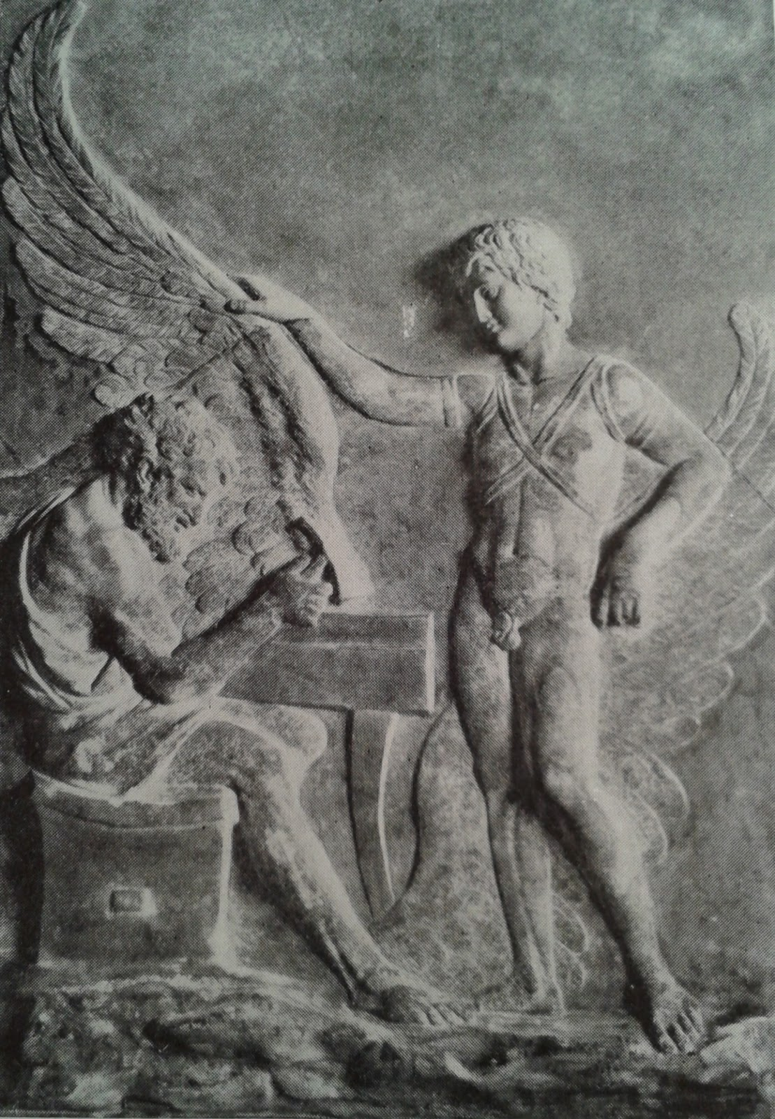Icaro y Dedalo construyendo las alas, en bajo relieve de la Villa Albani
